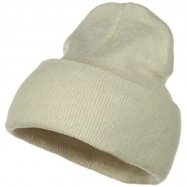 Big Size Stretch ECO Cotton Long Beanie - Milk