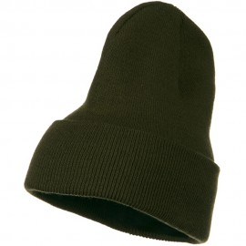 Big Stretch Plain Cuff Long Beanie - Olive