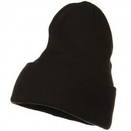 Big Stretch Plain Cuff Long Beanie - Brown