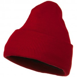 Fleece Lined Cuff Plain Beanie - Red