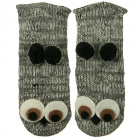 Adult Animal Wool Mitten- Owl