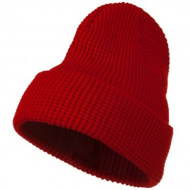 Big Stretch Waffle Stitch Cuff Beanie - Red