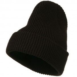 Big Stretch Waffle Stitch Cuff Beanie - Brown