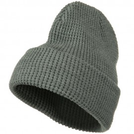 Big Stretch Waffle Stitch Cuff Beanie - Grey