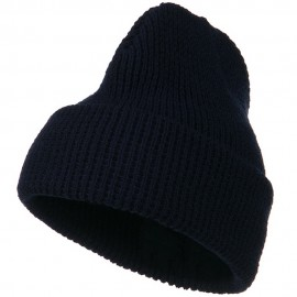 Big Stretch Waffle Stitch Cuff Beanie - Navy