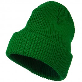Big Stretch Waffle Stitch Cuff Beanie - Kelly