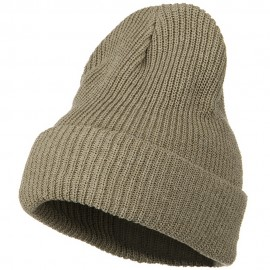Eco Cotton Ribbed XL Cuff Beanie - Khaki
