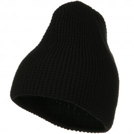Big Stretch Waffle Stitch Short Beanie - Black