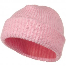 Solid Plain Watch Cap Beanie - Pink