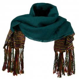 Multi Colored Wide Scarf with Tassel - Retro Blue
