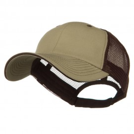 Big Size Garment Washed Cotton Twill Mesh Cap - Khaki Brown