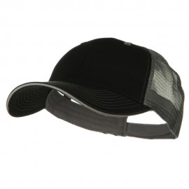 Big Size Garment Washed Cotton Twill Mesh Cap - Black Grey