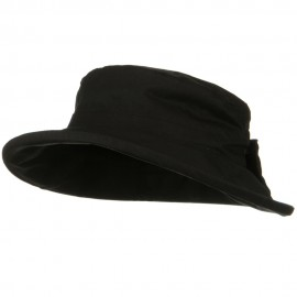 Waxed Cotton Canvas Ladies Wide Brim Bucket Hat - Black