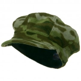 Camo Fleece Newsboy Hat - Green