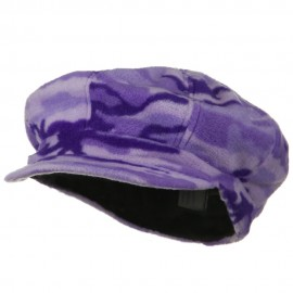 Camo Fleece Newsboy Hat - Lilac