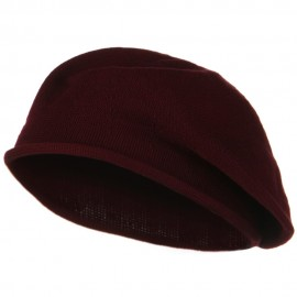 Toddler Rolled Brim Cotton Beret - Cranberry