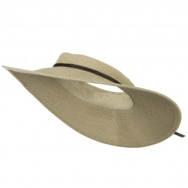 UPF50+ Crownless 4 Inch Wide Brim Visor - White Tweed