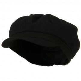 Cotton Elastic Big Size Newsboy Cap - Black