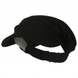Cotton Convertible Elastic Band Visor - Black