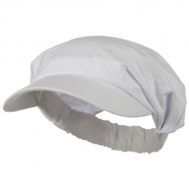 Cotton Convertible Elastic Band Visor - White