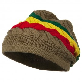 Cable Band Design Rasta Hat - Khaki RGY