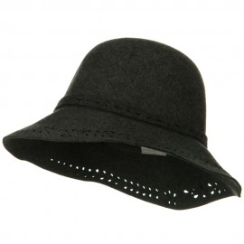 Laser Cut Brim Wool Felt Hat - Charcoal