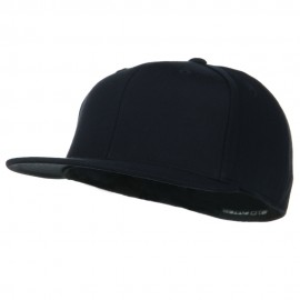 Big Size Premium Fitted Flat Bill Cap - Dark Navy
