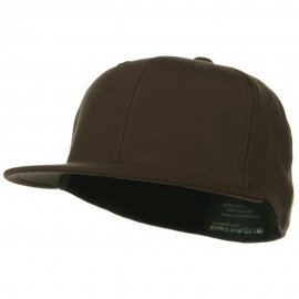 Premium Fitted Flat Visor Cap - Brown