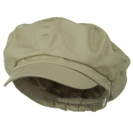 Big Size Cotton Newsboy Hat - Khaki