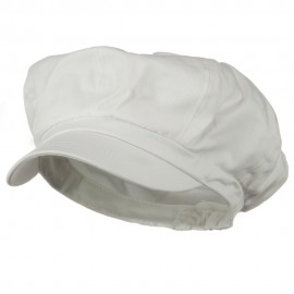 Big Size Cotton Newsboy Hat - White