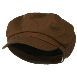 Big Size Cotton Newsboy Hat - Brown