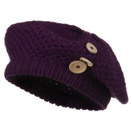 Wood Button Knit Beret