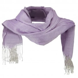 Cotton Linen Blend Long Scarf - Purple