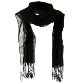 Solid Viscose Long Scarf - Black