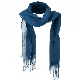 Solid Viscose Long Scarf - Blue