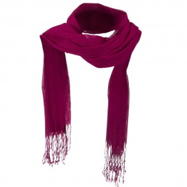 Solid Viscose Long Scarf - Fuchsia