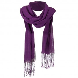 Solid Viscose Long Scarf - Purple