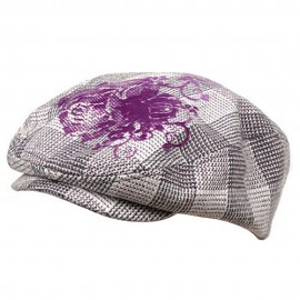 Flower Checkered Ivy Hat-Purple