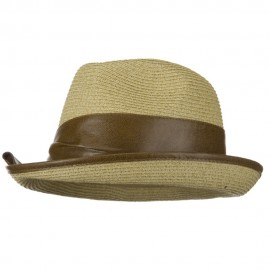 UPF 50+ Slanted Leather Brim Fedora