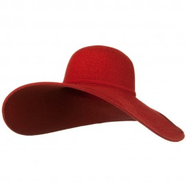 UPF 50+ Cotton Paper 6 Inch Flat Brim Hat - Red