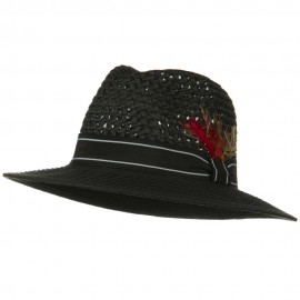 Men's Large Brim Straw Fedora Hat - Black