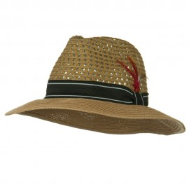 Men's Large Brim Straw Fedora Hat