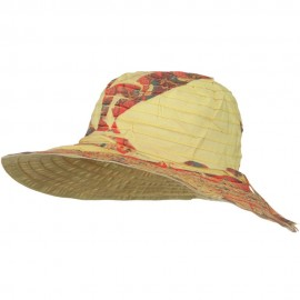 Ribbon Brim Indian Design Print Hat