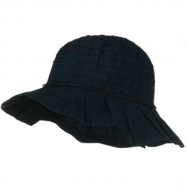 Woman's Ribbon Short Brim Self Tie Hat - Navy