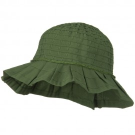 Woman's Ribbon Short Brim Self Tie Hat - Olive
