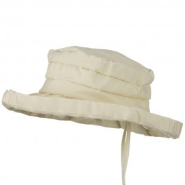 Woman's Ribbon 3 Inch Brim Pleated Crown Hat