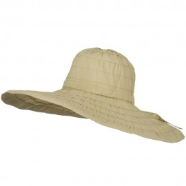 Packable and Crushable Ribbon 6 Inch Brim Hat - Tan