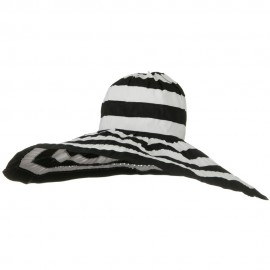 Bold Stripe Sewn Ribbon 8 1-2 Inch Wide Brim Hat