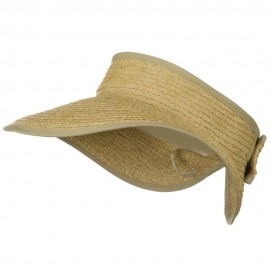 Raffia Wide Brim Roll Up Visor