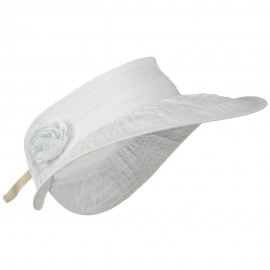 UPF 40+ Ribbon Flower Sewn Braid Roll Up Visor